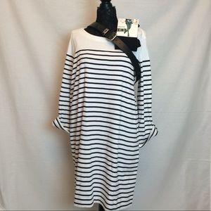Midi Dress ~ JNY Black/White, 3/4 Sleeve, Size XXL